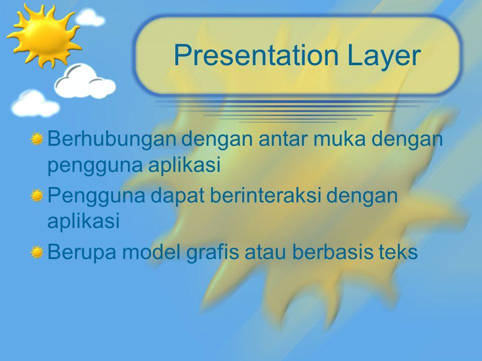 Presentation Layer Berhubungan dengan antar muka dengan pengguna aplikasi Pengguna dapat berinteraksi dengan aplikasi Berupa model grafis atau berbasi