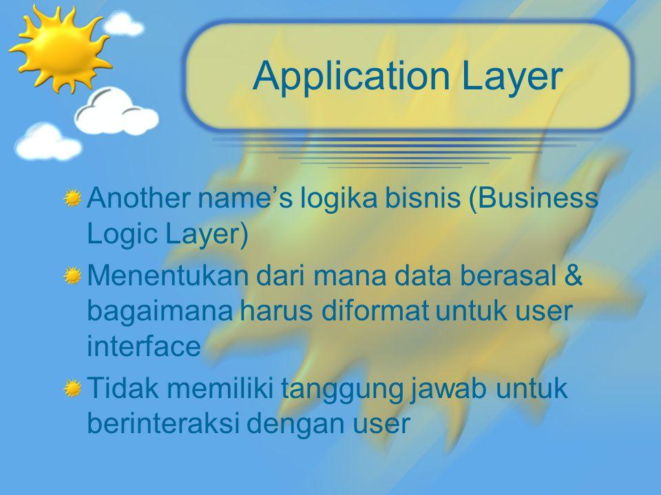 Application Layer Another name's logika bisnis (Business Logic Layer) Menentukan dari mana data berasal & bagaimana harus diformat untuk user interfac