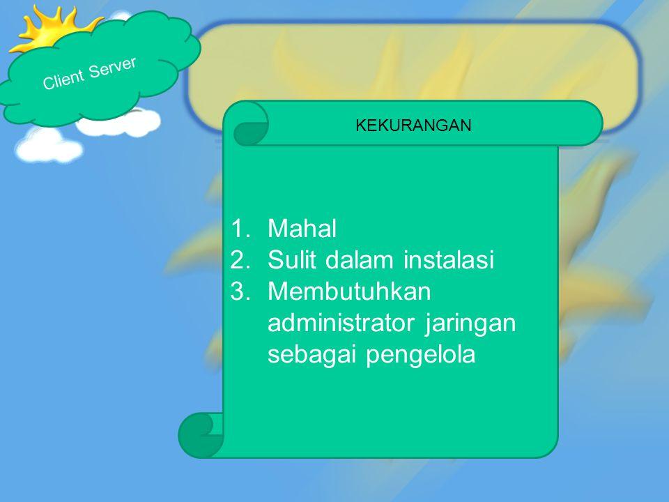 1.Mahal 2.Sulit dalam instalasi 3.Membutuhkan administrator jaringan sebagai pengelola Client Server KEKURANGAN