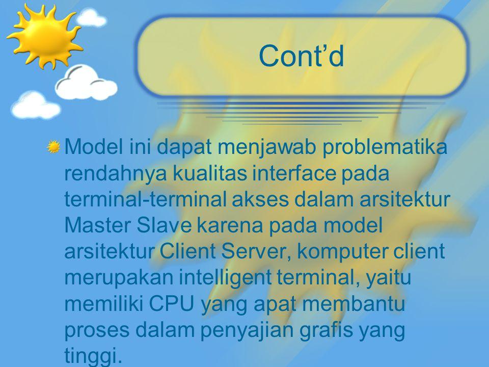 Cont'd Model ini dapat menjawab problematika rendahnya kualitas interface pada terminal-terminal akses dalam arsitektur Master Slave karena pada model