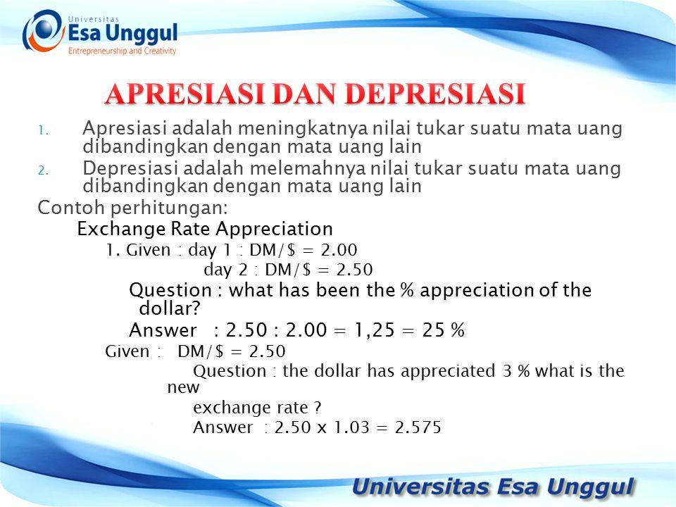 1. Apresiasi adalah meningkatnya nilai tukar suatu mata uang dibandingkan dengan mata uang lain 2.