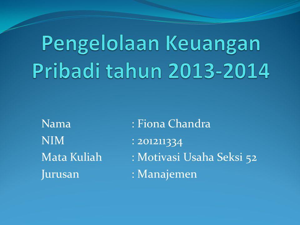 Nama: Fiona Chandra NIM: 201211334 Mata Kuliah: Motivasi Usaha Seksi 52 Jurusan: Manajemen