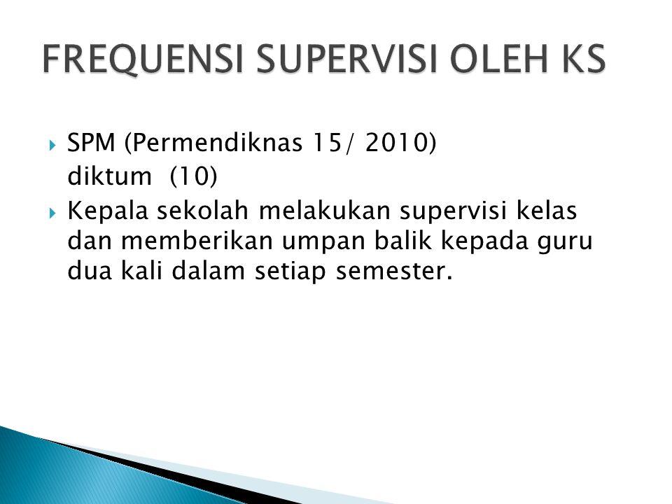  SPM (Permendiknas 15/ 2010) diktum (10)  Kepala sekolah melakukan supervisi kelas dan memberikan umpan balik kepada guru dua kali dalam setiap seme