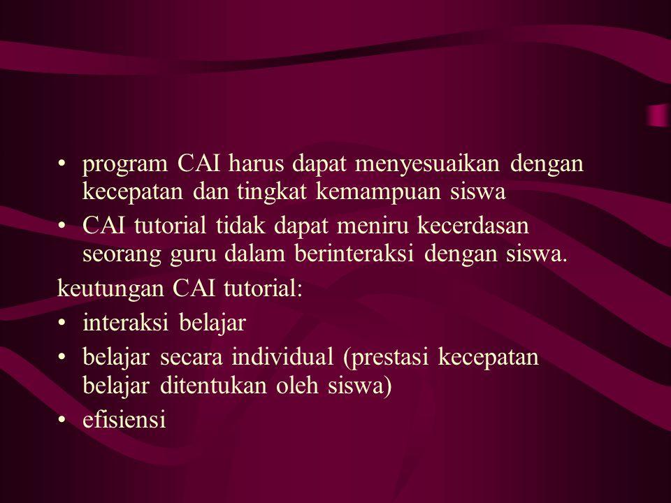 program CAI harus dapat menyesuaikan dengan kecepatan dan tingkat kemampuan siswa CAI tutorial tidak dapat meniru kecerdasan seorang guru dalam berint