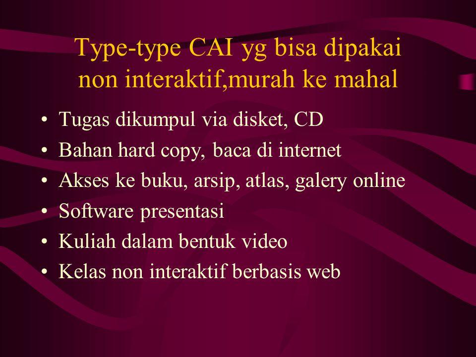 Type-type CAI yg bisa dipakai non interaktif,murah ke mahal Tugas dikumpul via disket, CD Bahan hard copy, baca di internet Akses ke buku, arsip, atla