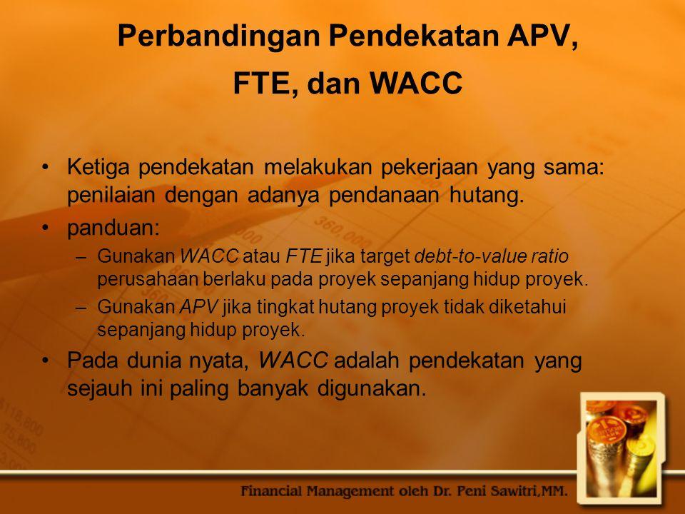Perbandingan Pendekatan APV, FTE, dan WACC Ketiga pendekatan melakukan pekerjaan yang sama: penilaian dengan adanya pendanaan hutang.