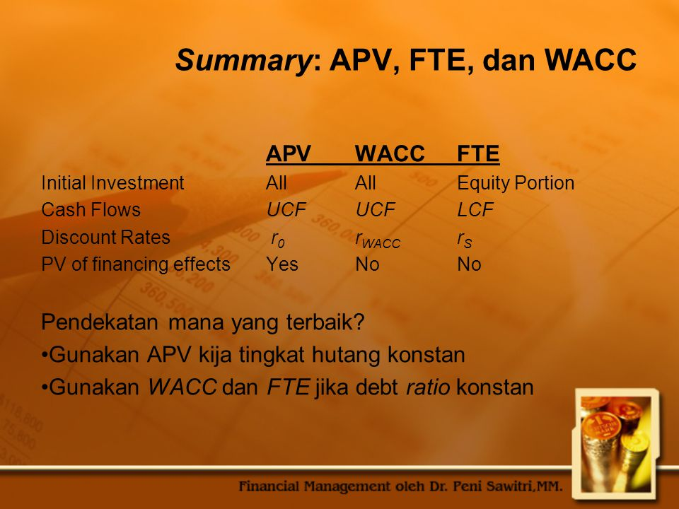 Summary: APV, FTE, dan WACC APVWACCFTE Initial Investment AllAllEquity Portion Cash FlowsUCFUCFLCF Discount Rates r 0 r WACC r S PV of financing effec