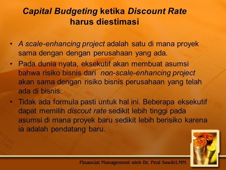 Capital Budgeting ketika Discount Rate harus diestimasi A scale-enhancing project adalah satu di mana proyek sama dengan dengan perusahaan yang ada.