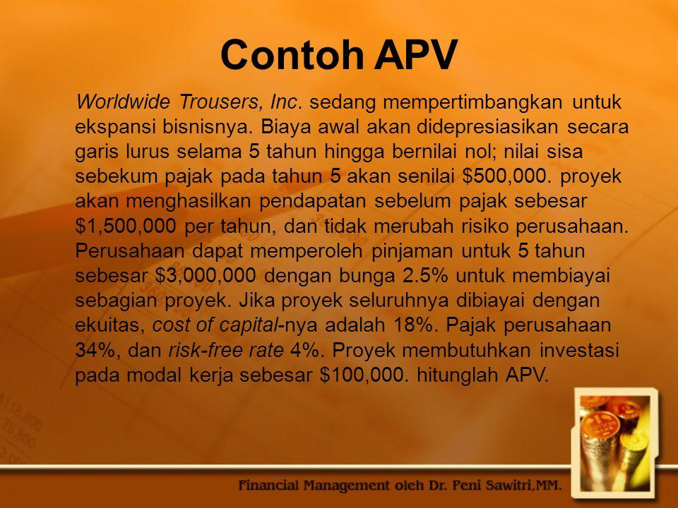 Contoh APV Worldwide Trousers, Inc.sedang mempertimbangkan untuk ekspansi bisnisnya.
