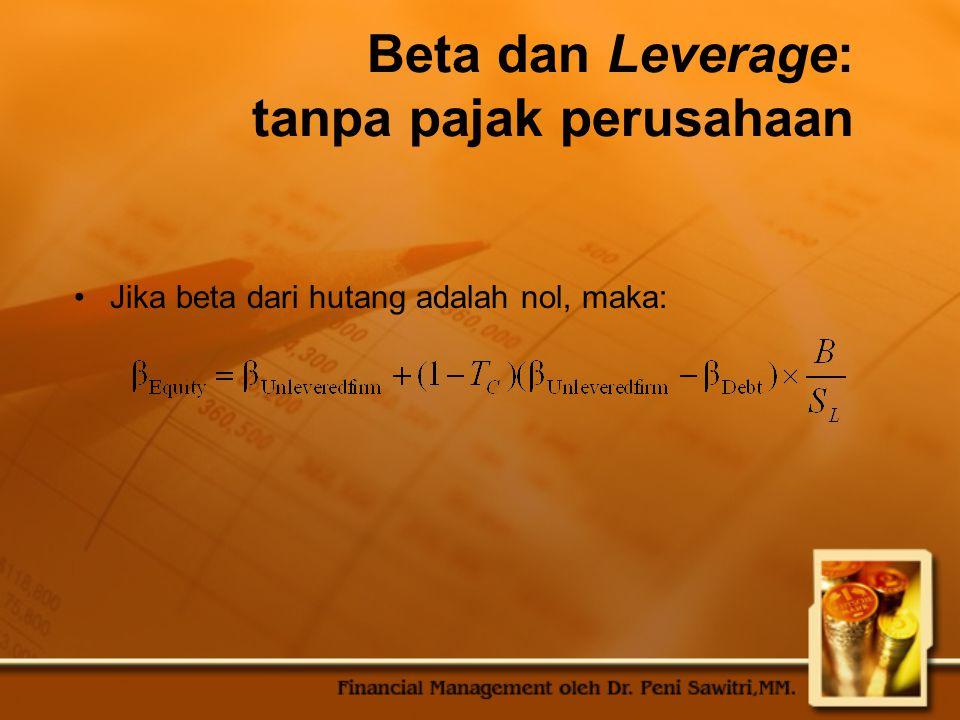 Beta dan Leverage: tanpa pajak perusahaan Jika beta dari hutang adalah nol, maka: