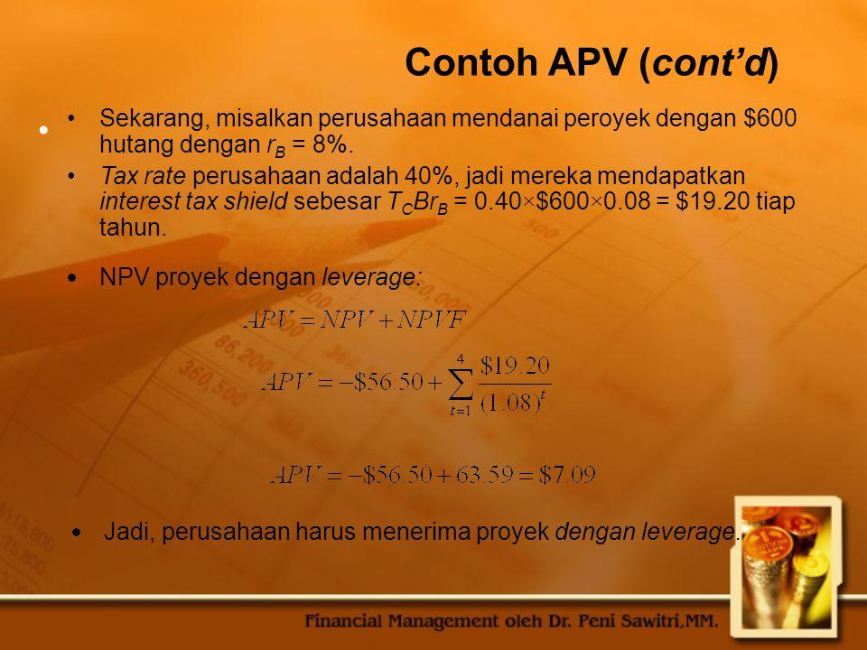 Contoh APV (cont'd) Sekarang, misalkan perusahaan mendanai peroyek dengan $600 hutang dengan r B = 8%.