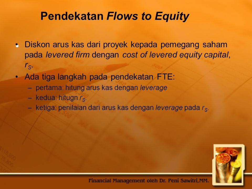 Pendekatan Flows to Equity Diskon arus kas dari proyek kepada pemegang saham pada levered firm dengan cost of levered equity capital, r S.