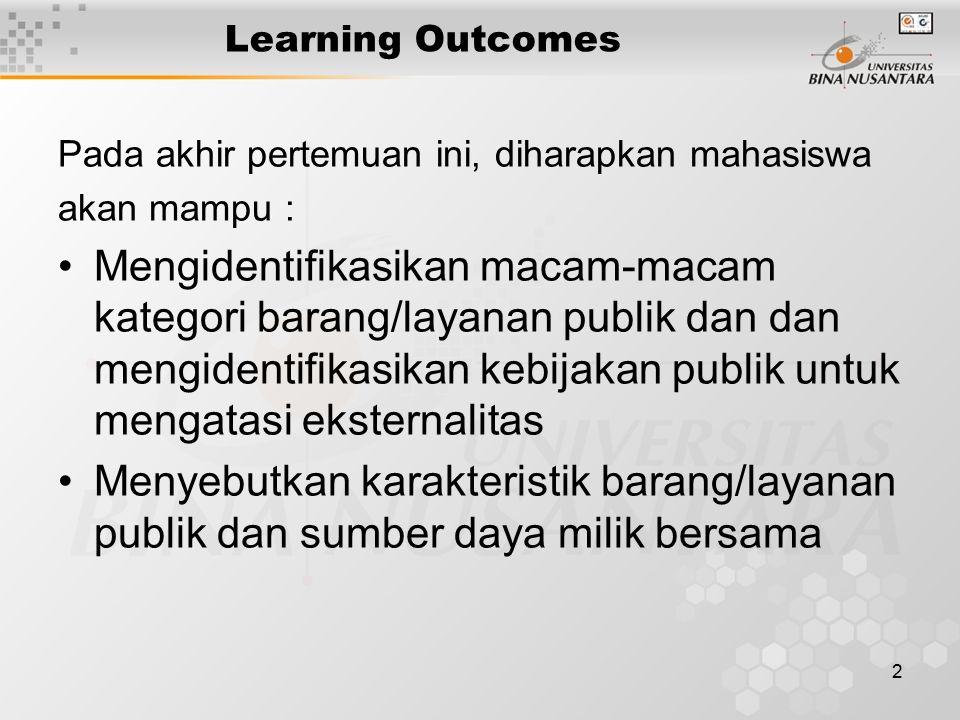 2 Learning Outcomes Pada akhir pertemuan ini, diharapkan mahasiswa akan mampu : Mengidentifikasikan macam-macam kategori barang/layanan publik dan dan
