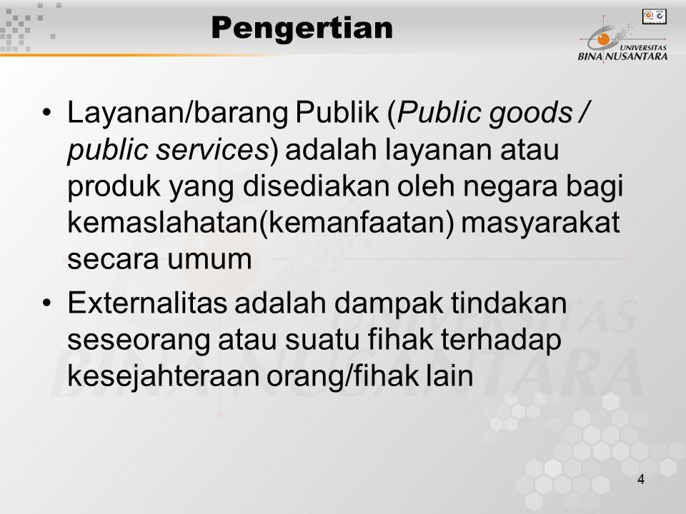 4 Pengertian Layanan/barang Publik (Public goods / public services) adalah layanan atau produk yang disediakan oleh negara bagi kemaslahatan(kemanfaat