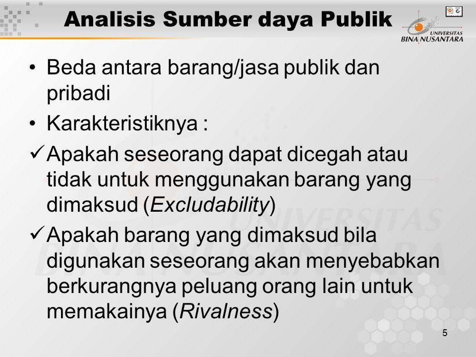 5 Analisis Sumber daya Publik Beda antara barang/jasa publik dan pribadi Karakteristiknya : Apakah seseorang dapat dicegah atau tidak untuk menggunaka