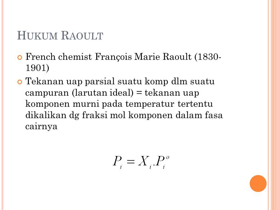H UKUM R AOULT French chemist François Marie Raoult (1830- 1901) Tekanan uap parsial suatu komp dlm suatu campuran (larutan ideal) = tekanan uap komponen murni pada temperatur tertentu dikalikan dg fraksi mol komponen dalam fasa cairnya