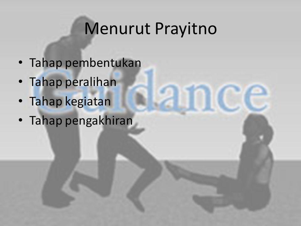 Menurut Prayitno Tahap pembentukan Tahap peralihan Tahap kegiatan Tahap pengakhiran