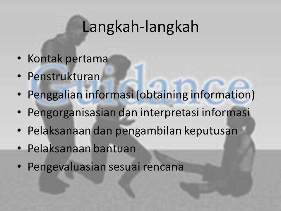 Langkah-langkah Kontak pertama Penstrukturan Penggalian informasi (obtaining information) Pengorganisasian dan interpretasi informasi Pelaksanaan dan pengambilan keputusan Pelaksanaan bantuan Pengevaluasian sesuai rencana