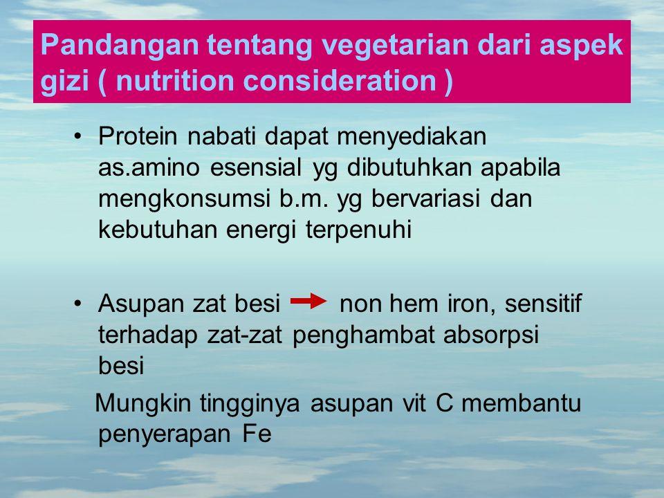 Pandangan tentang vegetarian dari aspek gizi ( nutrition consideration ) Protein nabati dapat menyediakan as.amino esensial yg dibutuhkan apabila meng