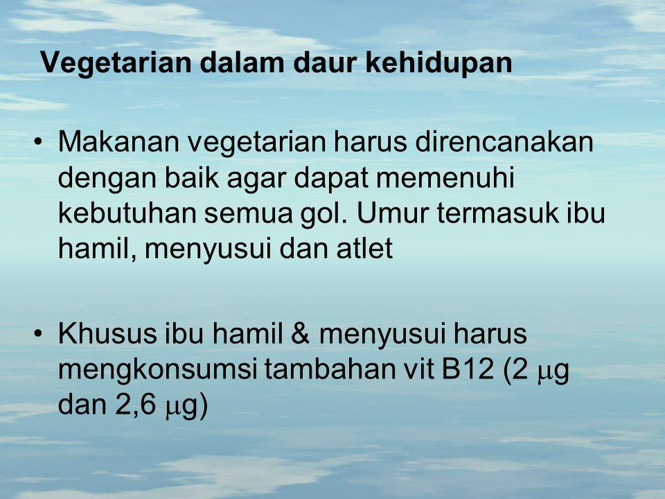 Vegetarian dalam daur kehidupan Makanan vegetarian harus direncanakan dengan baik agar dapat memenuhi kebutuhan semua gol. Umur termasuk ibu hamil, me