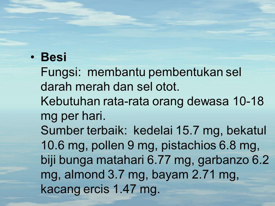 Besi Fungsi: membantu pembentukan sel darah merah dan sel otot. Kebutuhan rata-rata orang dewasa 10-18 mg per hari. Sumber terbaik: kedelai 15.7 mg, b