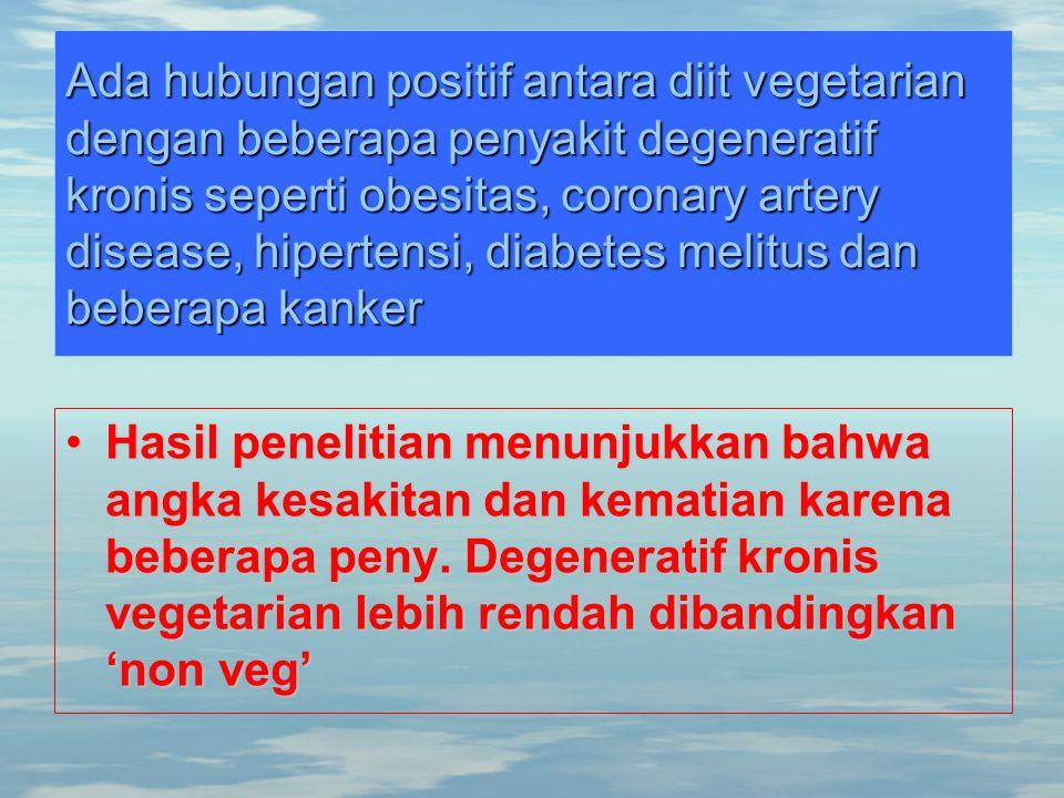 Ada hubungan positif antara diit vegetarian dengan beberapa penyakit degeneratif kronis seperti obesitas, coronary artery disease, hipertensi, diabete