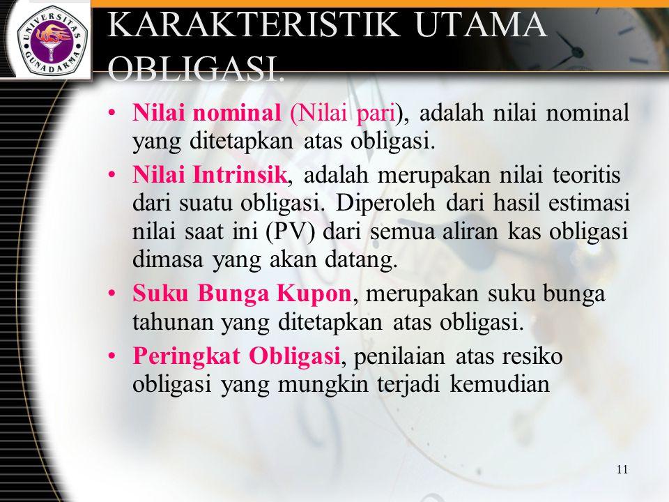 11 KARAKTERISTIK UTAMA OBLIGASI. Nilai nominal (Nilai pari), adalah nilai nominal yang ditetapkan atas obligasi. Nilai Intrinsik, adalah merupakan nil