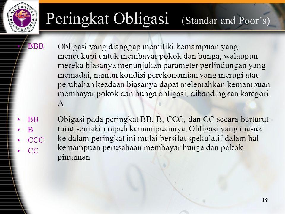 19 Peringkat Obligasi (Standar and Poor's) BBB BB B CCC CC Obligasi yang dianggap memiliki kemampuan yang mencukupi untuk membayar pokok dan bunga, wa