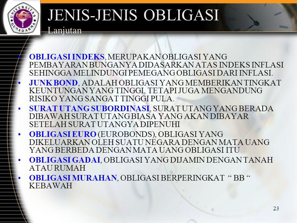 23 JENIS-JENIS OBLIGASI Lanjutan OBLIGASI INDEKS, MERUPAKAN OBLIGASI YANG PEMBAYARAN BUNGANYA DIDASARKAN ATAS INDEKS INFLASI SEHINGGA MELINDUNGI PEMEG