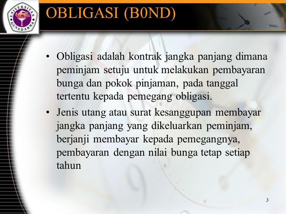 OBLIGASI (B0ND) Obligasi adalah kontrak jangka panjang dimana peminjam setuju untuk melakukan pembayaran bunga dan pokok pinjaman, pada tanggal terten