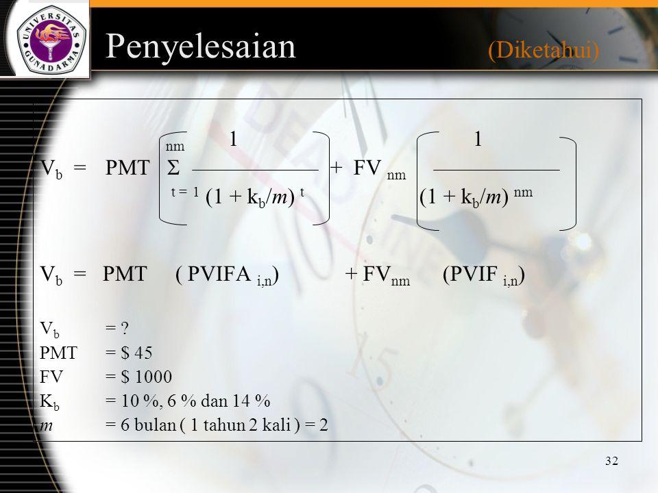 32 Penyelesaian (Diketahui) nm 1 1 V b =PMT  + FV nm t = 1 (1 + k b /m) t (1 + k b /m) nm V b = PMT ( PVIFA i,n ) + FV nm (PVIF i,n ) V b = ? PMT = $