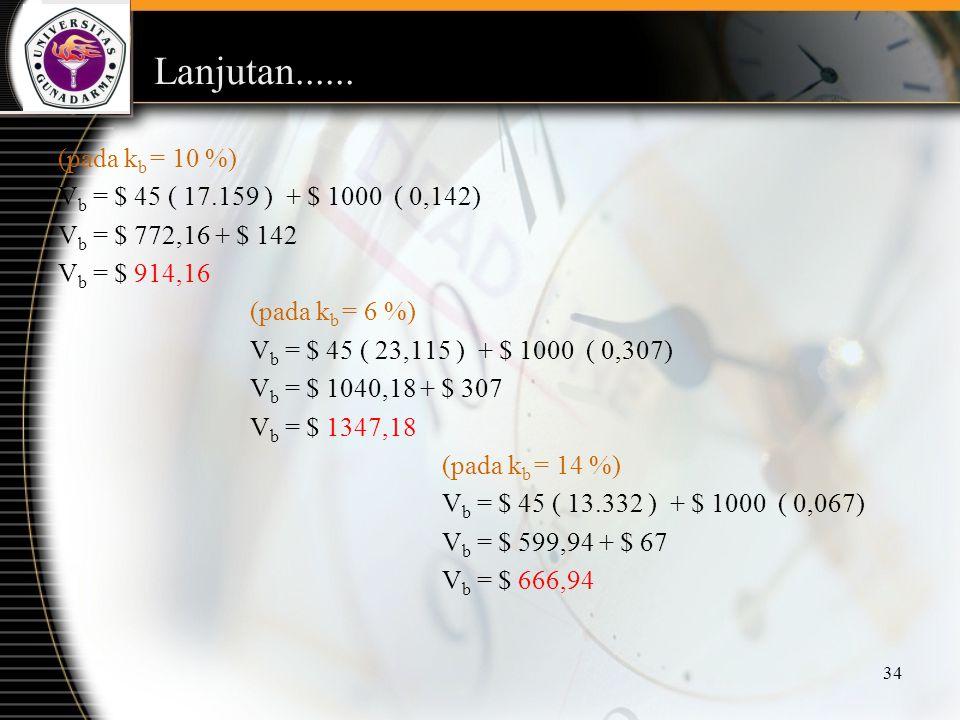 34 Lanjutan...... (pada k b = 10 %) V b = $ 45 ( 17.159 ) + $ 1000 ( 0,142) V b = $ 772,16 + $ 142 V b = $ 914,16 (pada k b = 6 %) V b = $ 45 ( 23,115
