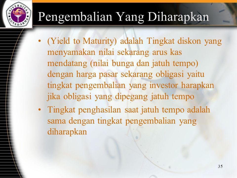 35 Pengembalian Yang Diharapkan (Yield to Maturity) adalah Tingkat diskon yang menyamakan nilai sekarang arus kas mendatang (nilai bunga dan jatuh tem