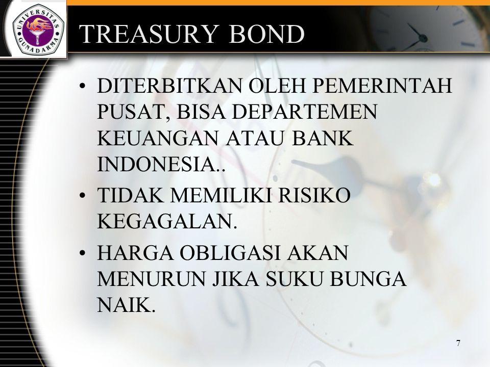 7 TREASURY BOND DITERBITKAN OLEH PEMERINTAH PUSAT, BISA DEPARTEMEN KEUANGAN ATAU BANK INDONESIA.. TIDAK MEMILIKI RISIKO KEGAGALAN. HARGA OBLIGASI AKAN