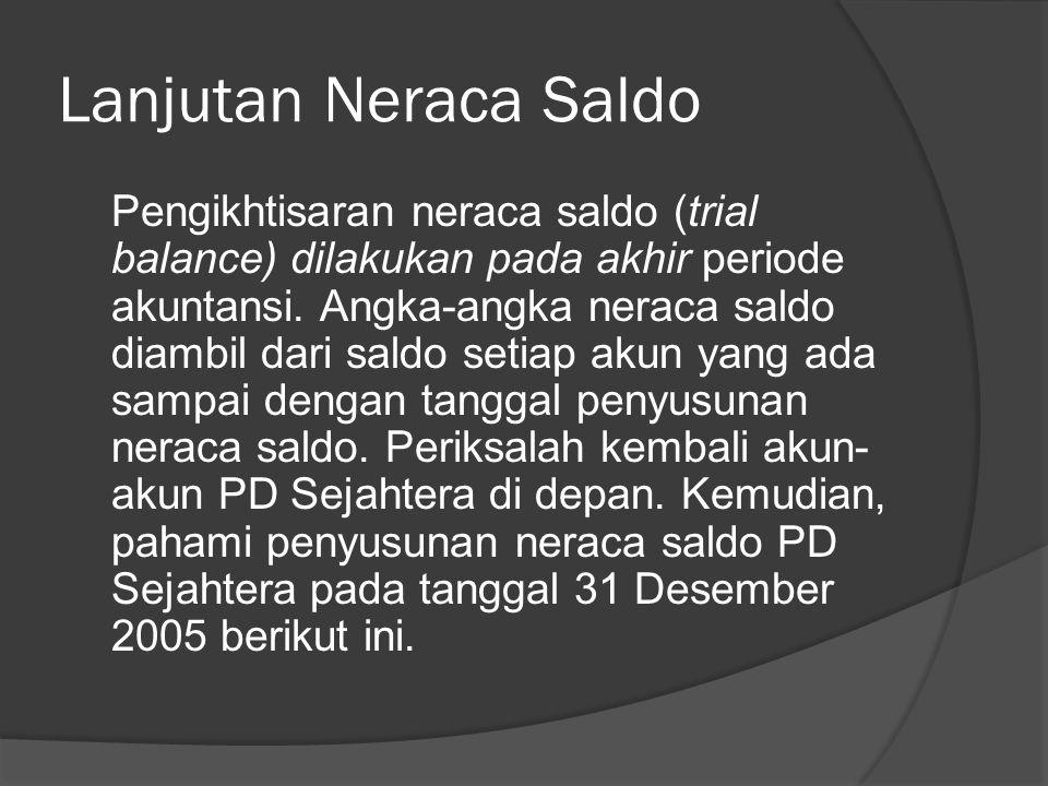 1. Neraca Saldo Pada akhir periode perlu dilakukan verifikasi terhadap akun-akun yang ada untuk melihat keseimbangan antara sisi debit dan sisi kredit