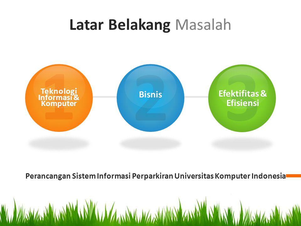 Latar Belakang Masalah Perancangan Sistem Informasi Perparkiran Universitas Komputer Indonesia 1Teknologi Informasi & Komputer 2Bisnis 3 Efektifitas &