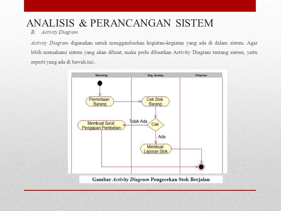 B.Activity Diagram Activity Diagram digunakan untuk menggambarkan kegiatan-kegiatan yang ada di dalam sistem. Agar lebih memahami sistem yang akan dib