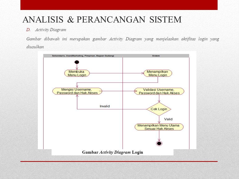 D.Activity Diagram Gambar dibawah ini merupakan gambar Activity Diagram yang menjelaskan aktifitas login yang diusulkan ANALISIS & PERANCANGAN SISTEM Gambar Activity Diagram Login