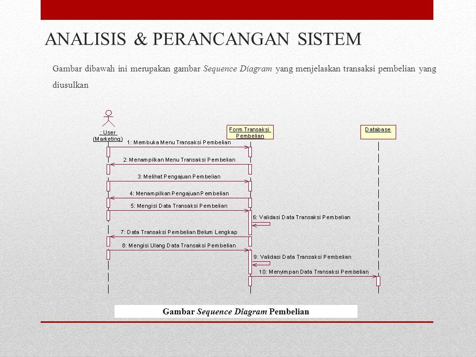 Gambar dibawah ini merupakan gambar Sequence Diagram yang menjelaskan transaksi pembelian yang diusulkan ANALISIS & PERANCANGAN SISTEM Gambar Sequence Diagram Pembelian
