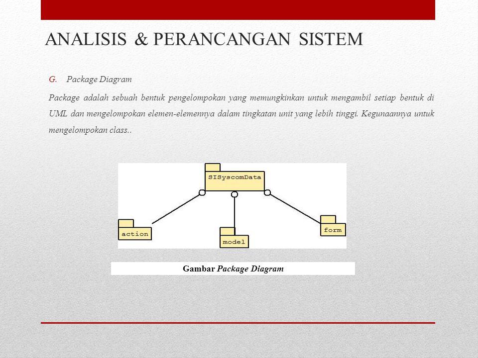 G.Package Diagram Package adalah sebuah bentuk pengelompokan yang memungkinkan untuk mengambil setiap bentuk di UML dan mengelompokan elemen-elemennya dalam tingkatan unit yang lebih tinggi.