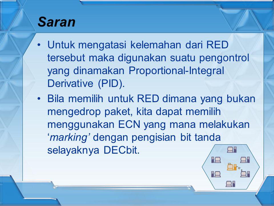 Saran Untuk mengatasi kelemahan dari RED tersebut maka digunakan suatu pengontrol yang dinamakan Proportional-Integral Derivative (PID).