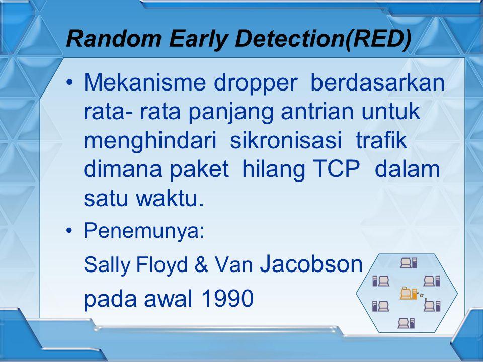 Random Early Detection(RED) Mekanisme dropper berdasarkan rata- rata panjang antrian untuk menghindari sikronisasi trafik dimana paket hilang TCP dalam satu waktu.