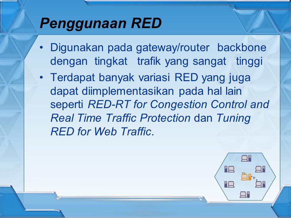 Penggunaan RED Digunakan pada gateway/router backbone dengan tingkat trafik yang sangat tinggi Terdapat banyak variasi RED yang juga dapat diimplementasikan pada hal lain seperti RED-RT for Congestion Control and Real Time Traffic Protection dan Tuning RED for Web Traffic.
