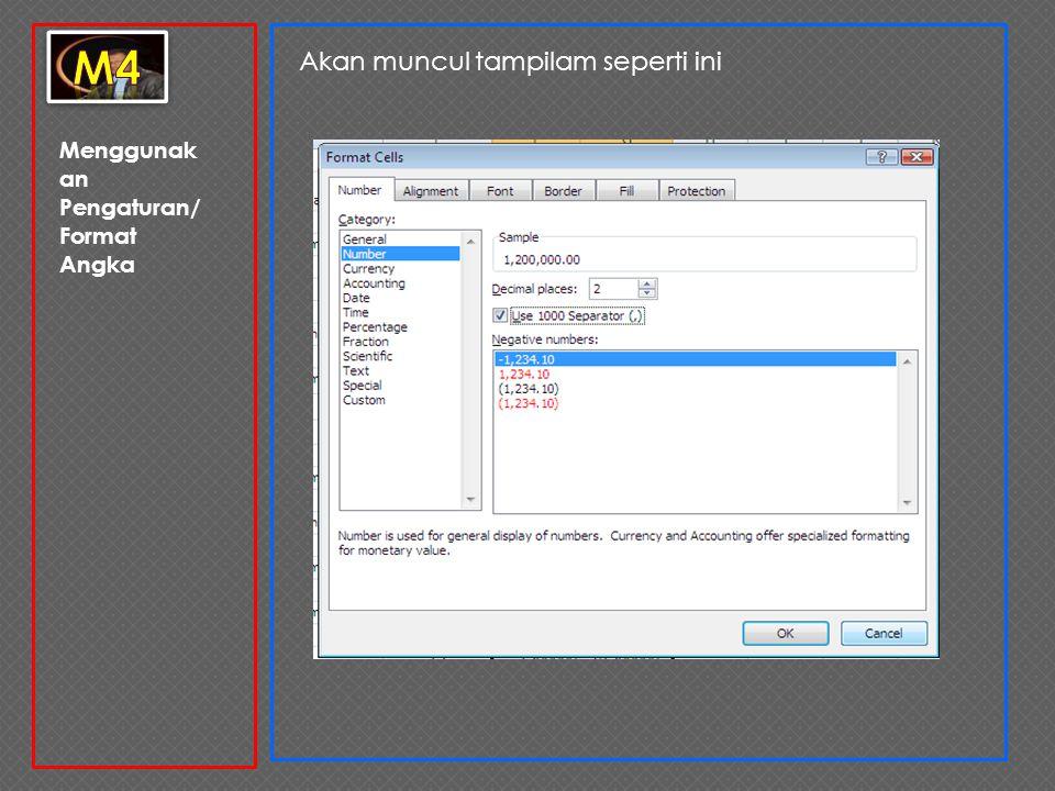 Menggunak an Pengaturan/ Format Angka 5.