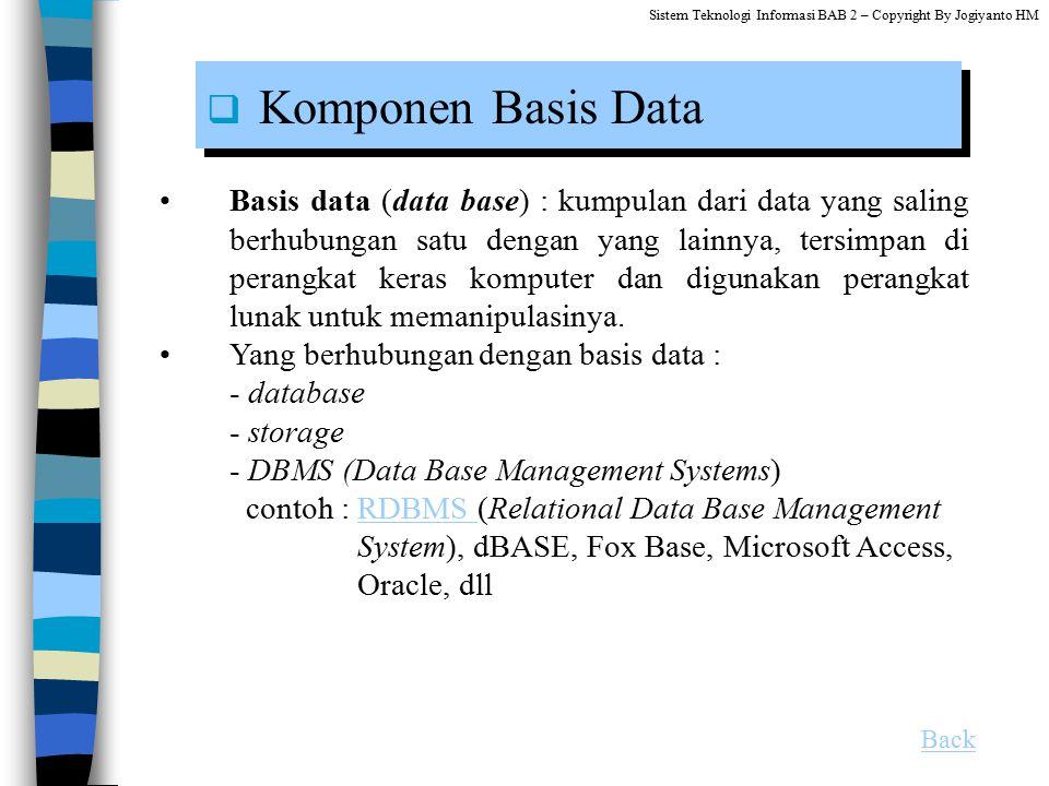Basis data (data base) : kumpulan dari data yang saling berhubungan satu dengan yang lainnya, tersimpan di perangkat keras komputer dan digunakan pera