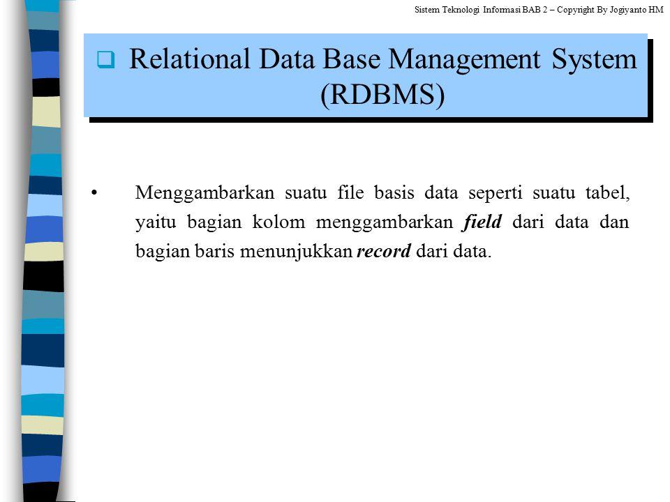 Menggambarkan suatu file basis data seperti suatu tabel, yaitu bagian kolom menggambarkan field dari data dan bagian baris menunjukkan record dari dat