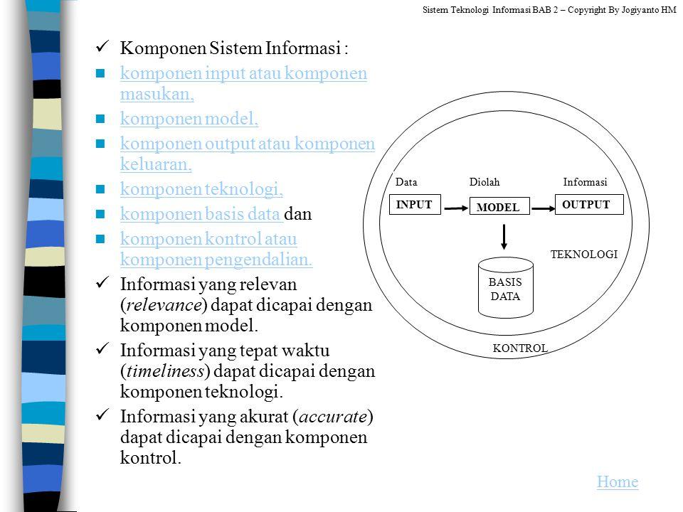 Komponen Sistem Informasi : komponen input atau komponen masukan, komponen input atau komponen masukan, komponen model, komponen output atau komponen
