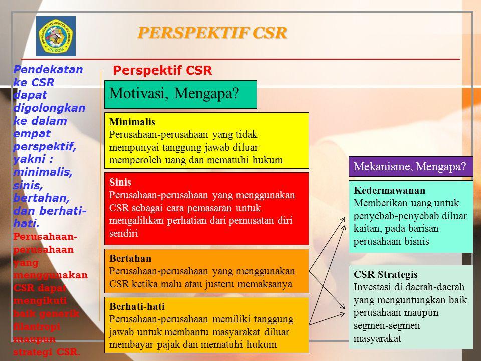PERSPEKTIF CSR Pendekatan ke CSR dapat digolongkan ke dalam empat perspektif, yakni : minimalis, sinis, bertahan, dan berhati- hati. Perusahaan- perus