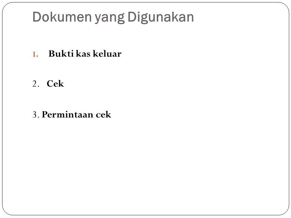 Dokumen yang Digunakan 1. Bukti kas keluar 2. Cek 3. Permintaan cek