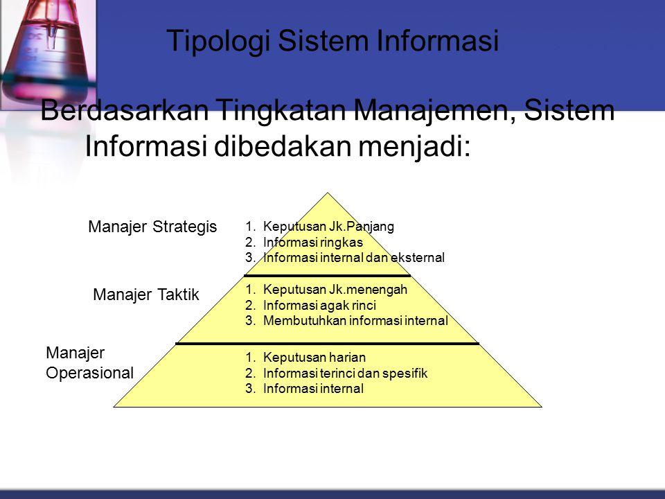 Tipologi Sistem Informasi Berdasarkan Tingkatan Manajemen, Sistem Informasi dibedakan menjadi: 1. Keputusan Jk.Panjang 2. Informasi ringkas 3. Informa